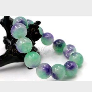 12mm Purple/green Jade Bead Bracelet